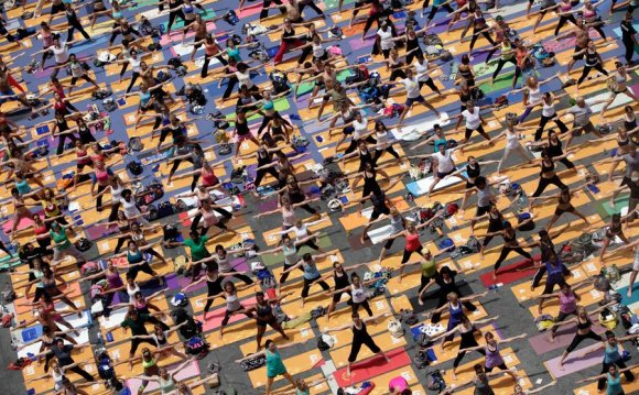 A large group of yoga