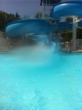 Caledonia's water slide. (Please ignore the water bubble)