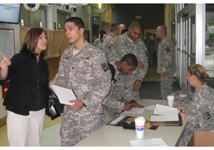 Rochelle Fortin, OEF/OIF/OND Coordinator with soldier during the May PDHRA